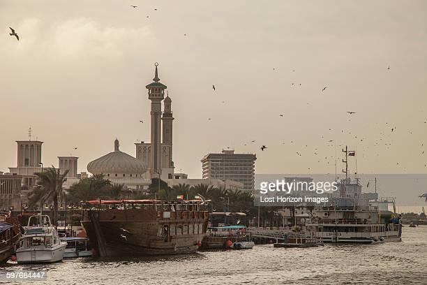 Traditional boats at Dubai Creek, Dubai, United Arab Emirates