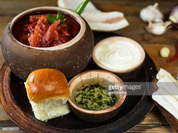 Traditional borscht soup with bread roll, Ukraine