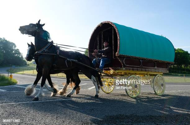 A traditional bow top caravan is driven into the campsite on the first day of the Appleby Horse Fair on June 7 2018 in Appleby EnglandThe fair is an...