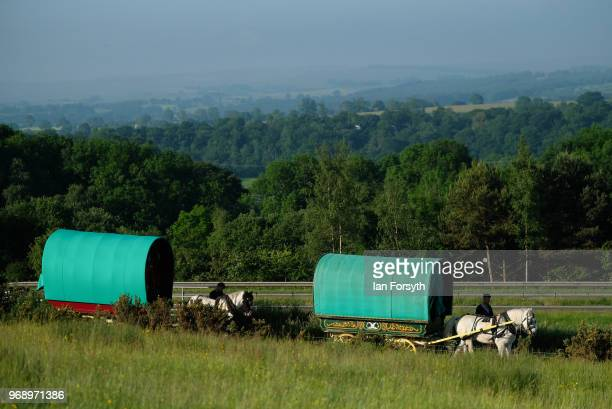 Traditional bow top caravans arrive at a campsite on the first day of the Appleby Horse Fair on June 7 2018 in Appleby EnglandThe fair is an annual...