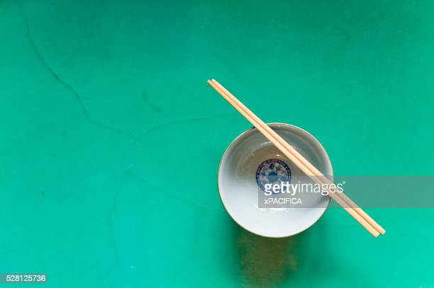 A traditional bowl and chopsticks at the San Huang Zhai Monastery on the Song Mountain, China