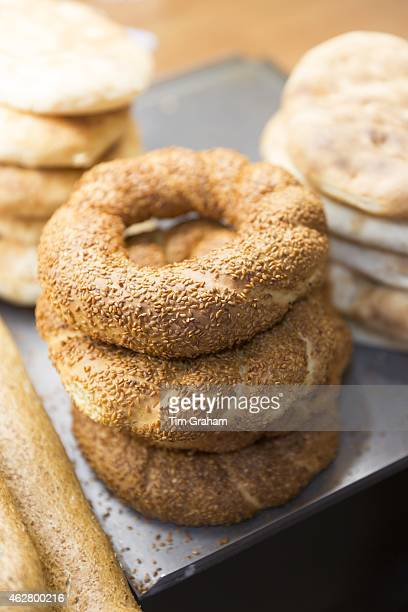 Traditional bread simit Turkish sesame seed bread rings in food market in Kadikoy district on Asian side of Istanbul East Turkey