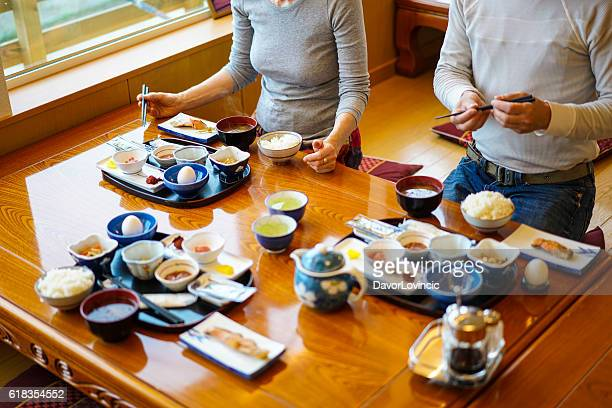 traditional breakfast in utoro town at shiretoko, japan - hokkaido stock pictures, royalty-free photos & images