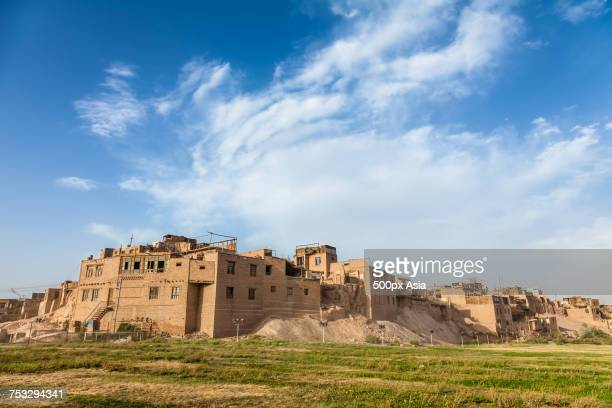 traditional brick buildings in kashgar old town, xinjiang province, china - kashgar stock photos and pictures