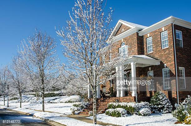 Traditional Brick Home After a Winter Snow Storm
