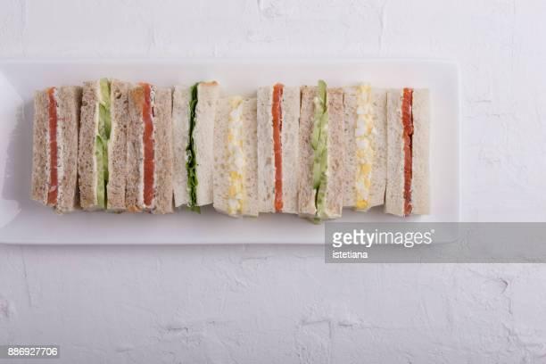 Traditional British Dishes. English tea sandwiches