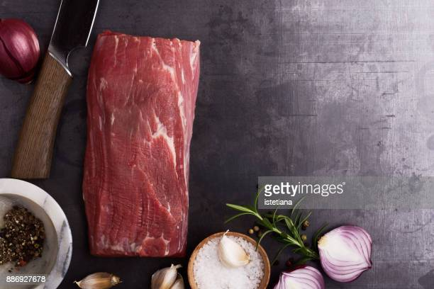 Traditional British Dishes. Raw beef tenderloin