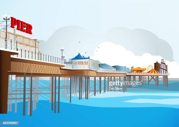 traditional british pier - illustration - illustration stock pictures, royalty-free photos & images