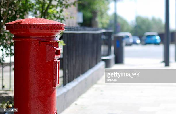 Traditional British red postbox with copy space