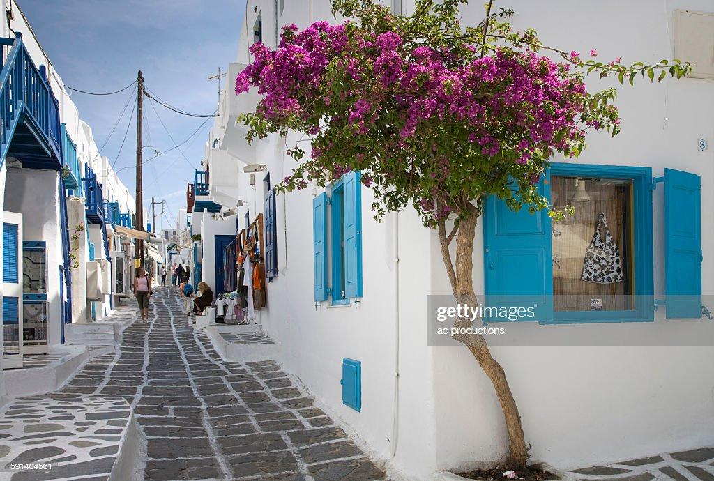 Traditional buildings on Mykonos street, Cyclades Islands, Greece : Stock Photo