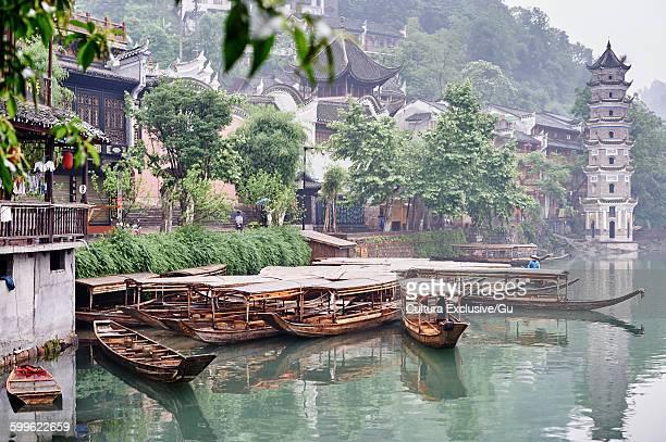 Traditional buildings on river edge, Fenghuang, Hunan, China