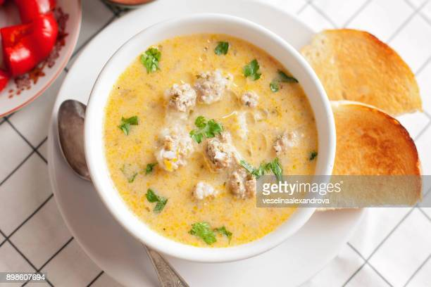 Traditional Bulgarian meatball soup