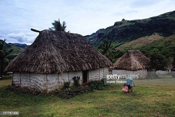 traditional bure houses, navala, viti levu - tradition stock pictures, royalty-free photos & images