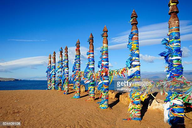 Traditional Buryat pagan sacred poles in the Olkhon Island