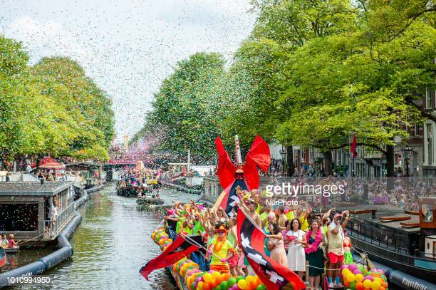 Traditional Canal Parade during Amsterdam Gay Pride on August 4 2018 in Amsterdam Netherlands Pride Amsterdam 2018 celebrates the community of gay...