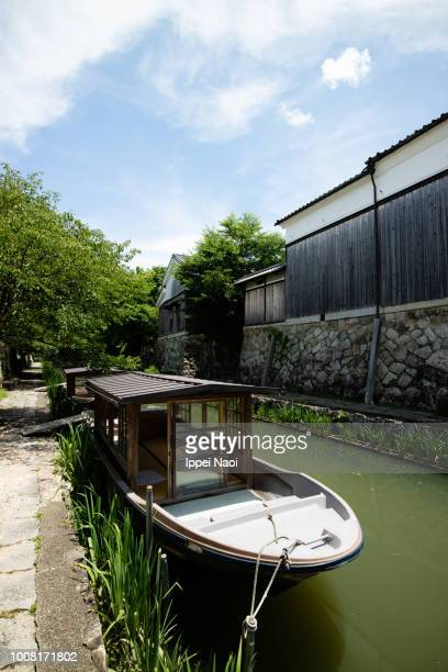 Traditional canal town of Omihachiman with boats, Shiga, Japan