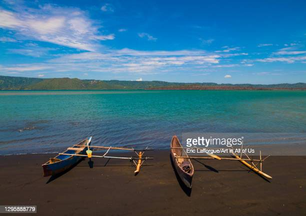 Traditional canoe on a beach, East New Britain Province, Rabaul, Papua New Guinea on September 30, 2009 in Rabaul, Papua New Guinea.