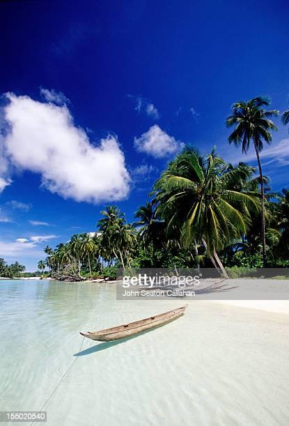 Traditional canoe on beach, Mentawai islands.