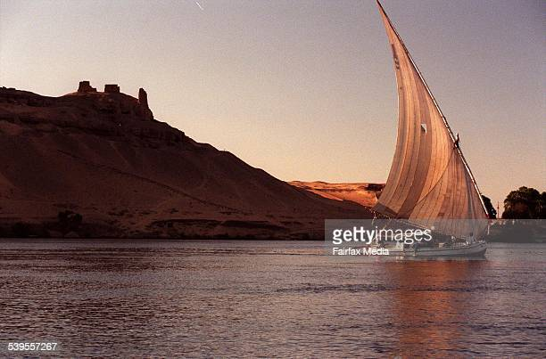 A traditional canvas sail boat called Feluccas on upper Nile River in Aswan Egypt on 28 September 1998 AFR TRAVEL Picture by LOUIE DOUVIS
