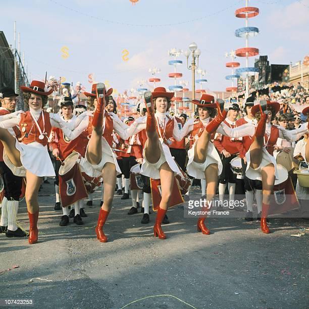 Traditional Carnival Pompom Girls In Nice