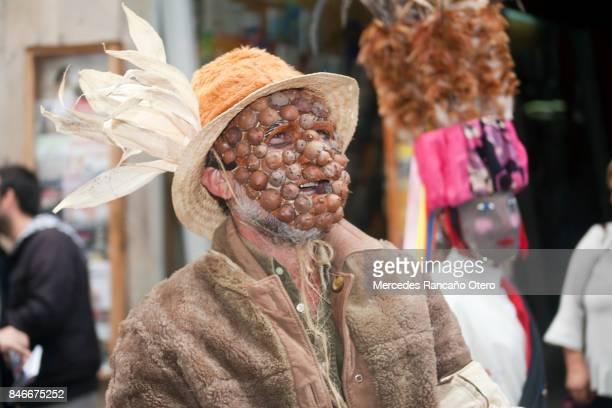 traditional character of 'entroido ribeirao', carnival, galicia, spain. - santiago de compostela stock pictures, royalty-free photos & images