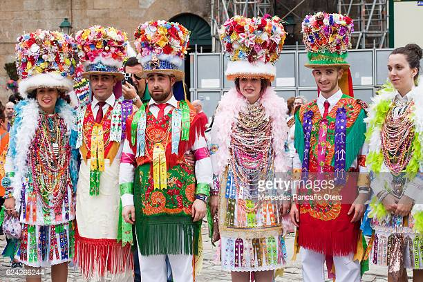 traditional characters of 'cobres-vilaboa' carnival, galicia, spain - pontevedra province stock photos and pictures