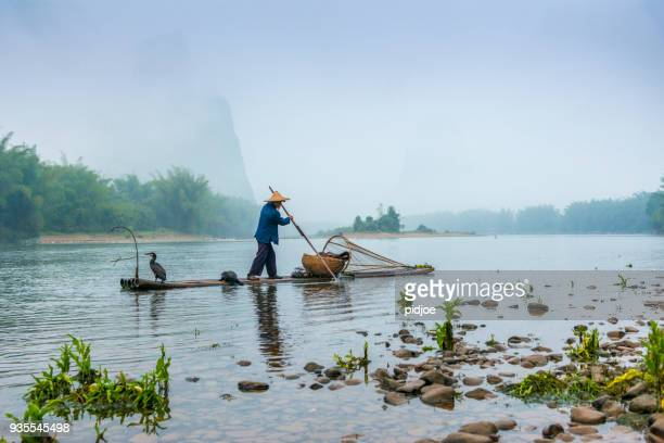 Traditional Chinese 75 year old senior fisherman in traditional clothes and bamboo hat on his wooden fishing raft with two cormorants fishing on the Li River in the early morning fog light at sunrise. Shot at Xing Ping, close to the city of Yangshuo Count
