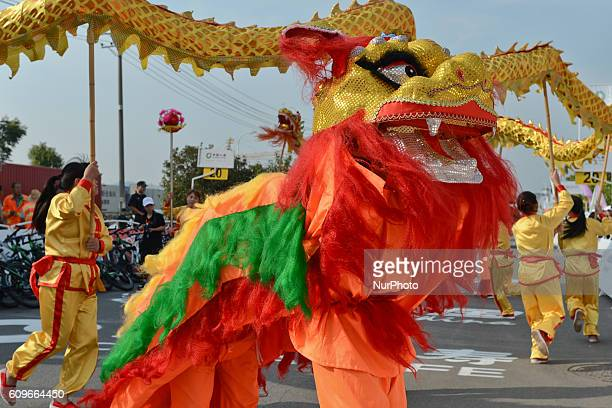 A traditional Chinese dances at the start of the 116km Liling Circuit Race third stage of the 2016 Tour of China 2 On Thursday 22 September 2016 in...