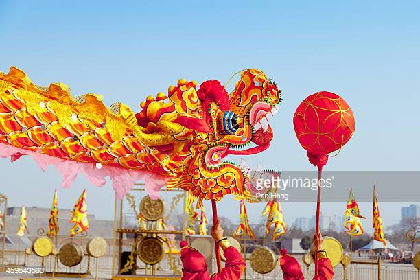 Traditional Chinese dragon dancing