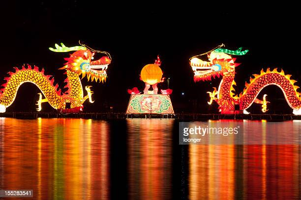 traditional chinese dragon lights - chinese dragon stock photos and pictures