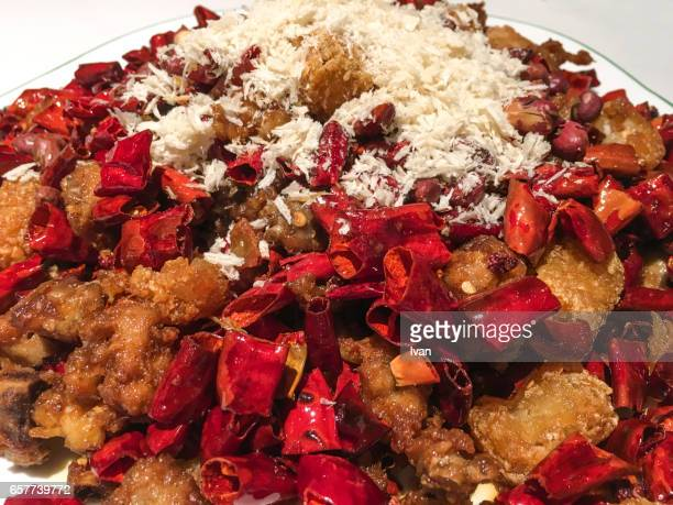 Traditional Chinese Food, Sichuan Spicy Chicken with Red Chili Pepper