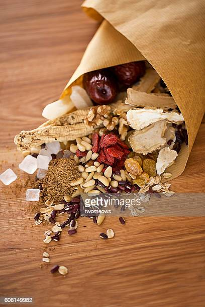 Traditional Chinese herbs medicine close up.