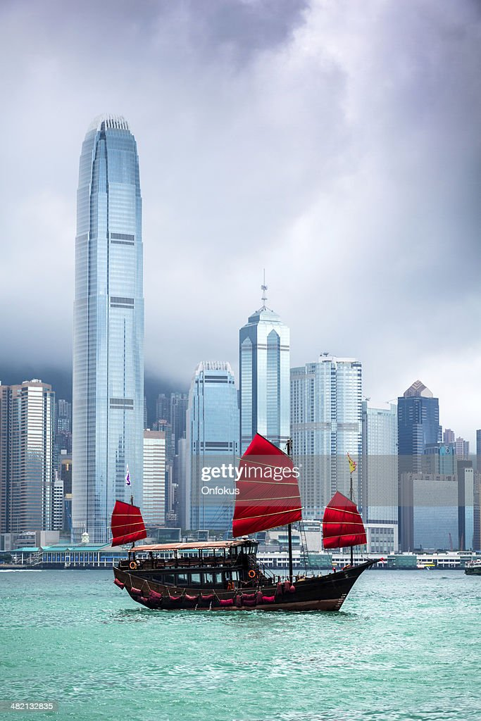 Traditional Chinese Junkboat Sailing Across Victoria Harbour, Hong Kong : Stock Photo