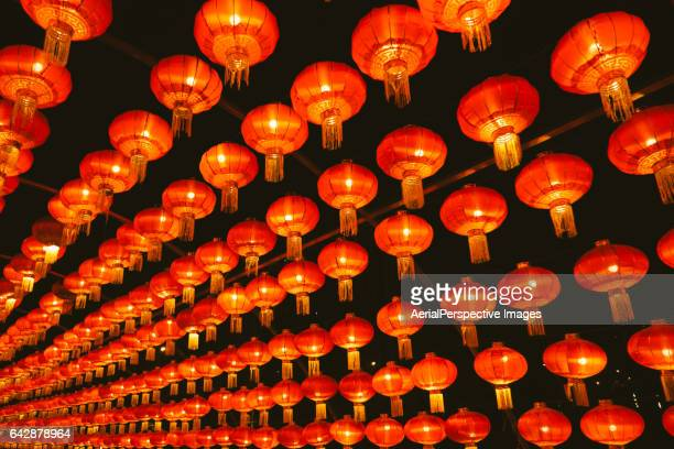 traditional chinese lanterns at night - temple of heaven stock pictures, royalty-free photos & images