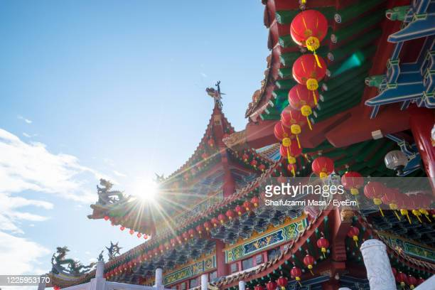 traditional chinese lanterns display during chinese new year festival at thean hou temple - shaifulzamri stock pictures, royalty-free photos & images