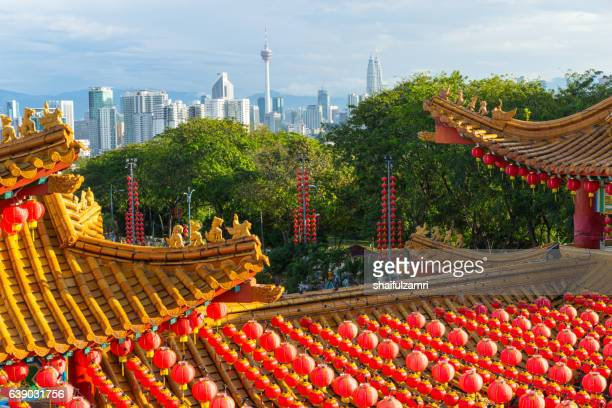 traditional chinese lanterns display during chinese new year festival - shaifulzamri stock pictures, royalty-free photos & images