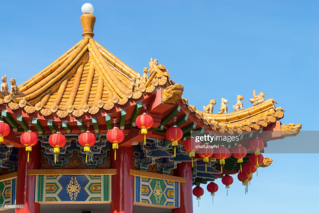 Traditional Chinese lanterns display during Chinese new year festival : Stock Photo