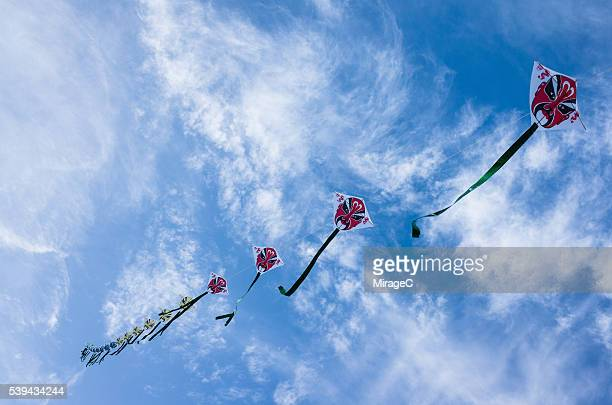 Traditional Chinese Long Kites Flying in the Sky