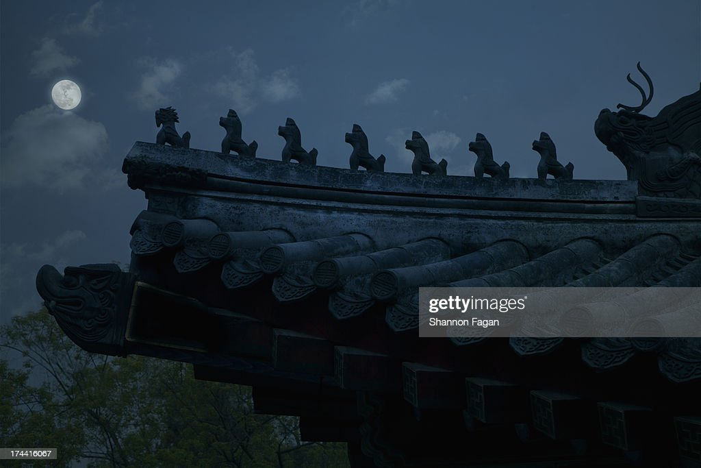 Traditional Chinese Rooftop with Moon : Stock Photo