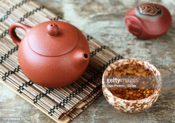 traditional chinese tea ceremony accessories: tea pot, cup and g - {{relatedsearchurl('london eye')}} stock photos and pictures