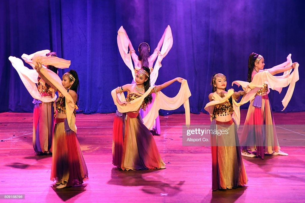 Traditional Chinese women perform on stage at the Thean Hou temple on the 2nd day of Lunar New Year on February 9, 2016 in Kuala Lumpur, Malaysia. The Lunar New Year marks the Year of the Monkey in the Chinese calendar.