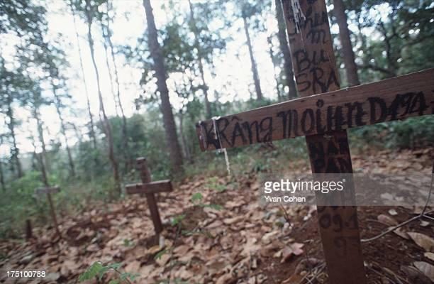 BOUSRA MONDOLKIRI CAMBODIA Traditional christian wooden crosses mark the graves of Phnong villagers from Bousra in northeastern Cambodia A small...