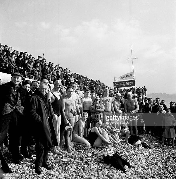Traditional Christmas Bath On The Promenade Des Anglais in Nice France on December 22 1962