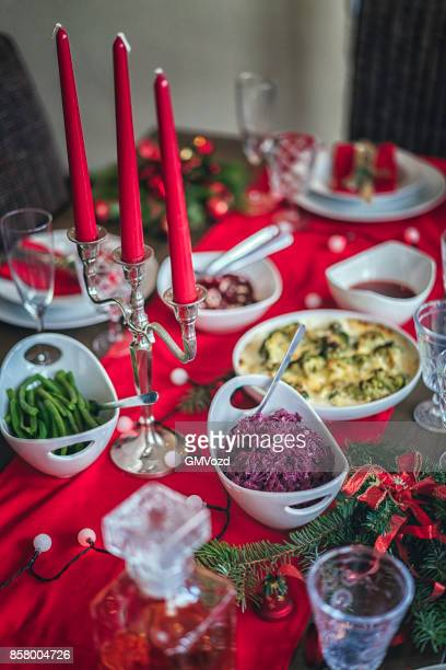 traditional christmas dinner with vegetables side dishes - food state stock pictures, royalty-free photos & images