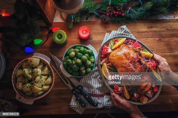 traditional christmas duck holiday dinner - turkey meat stock pictures, royalty-free photos & images