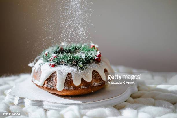 traditional christmas lemon bundt cake decorated with spruce branch and cranberrys. - decoration stock pictures, royalty-free photos & images