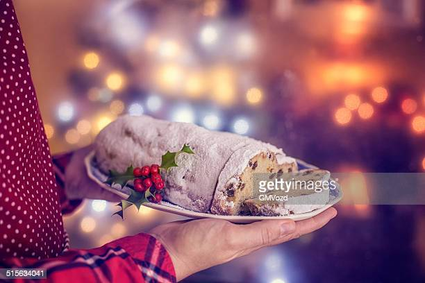 Traditional Christmas Stollen with Powdered Sugar
