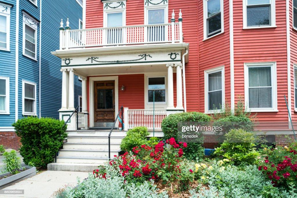 Traditional clapboard house in Boston Cambridge Massachusetts USA : Stock Photo