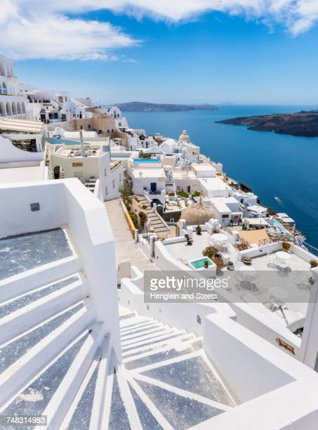 Traditional cliff house by sea, Athens, Attiki, Greece, Europe