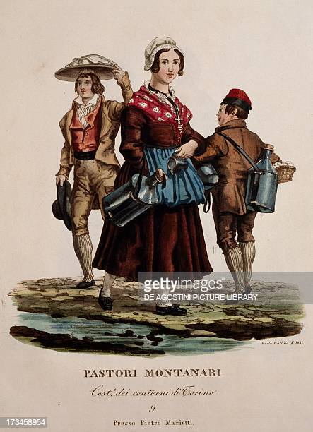 Traditional clothing from the 19th century worn by shepherds from the mountains surrounding Turin engraving aquatint by Gallo Gallina